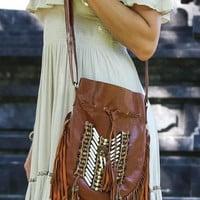 Dreamweaver Genuine Leather Crossbody Purse Boho Fringe Indian Breastplate Drawstring Messenger Bag