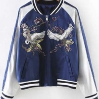 Unisex Fashion Color Block Embroidered Detail Ribbed Cuff Baseball Jacket