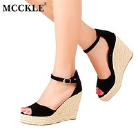 Comfortable Bohemian Wedges Women Sandals Shoes High Platform Open Toe