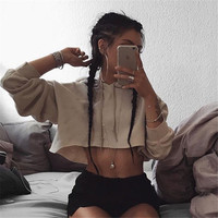All-match Fashion Solid Color Long Sleeve Hooded Sweater Crop Top