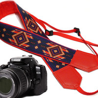 Native American Camera strap (inspired by).  Southwestern Ethnic Camera strap.  DSLR Camera Strap. Camera accessories.  Nikon Canon
