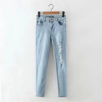 Summer Women's Fashion High Rise Ripped Holes Weathered Denim Pants Skinny Pants [4919997316]