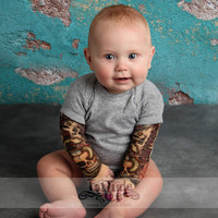 Gray Bodysuit Onesuit Born to Be Wild Tattoo Sleeve Shirt for Babies