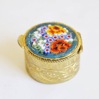 Small Micro Mosaic Pill, Small Pill Box, Micro Mosaic Box, Miniature Box, Collection Box, Golden Pillbox, Round Box