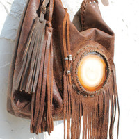 Large chocolate brown distressed leather agate stone boho Autumn hobo tote bag rusted brown fringe leather artisan tribal ethnic african