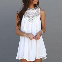 Mini Sundress Dress White Sexy Charming Female Designed Summer Casual Loose  Sleeveless Lace Patchwork O Neck