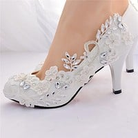 White Wedding Shoes Bride Female High Heels Shoes Woman Crystal Party Shoes Pumps Women Shoes