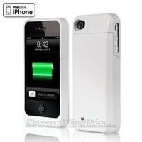 iPhone 4 4s Battery Case with Build-in Bluetooth Headset -Hard Slim Luxury Case- Rechargeable Extended Battery Pack - Best Latest Stylish All in One Design - Perfect Custom Fit - For Girls & Guys - AT&T Verizon Sprint Unlocked - Black Silver White (Silver)