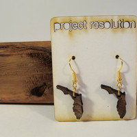 Florida Wooden State Shaped Earrings by ProjectResolution on Etsy