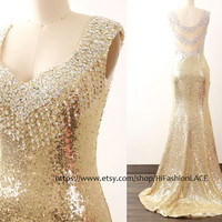 Gold Sequin Mermaid Prom Dresses, Straps Evening Gown with Train, Sequined Formal Dresses,  Gold Wedding Party Dress