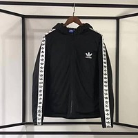 ADIDAS Woman Men Hooded Fashion Cardigan Jacket Coat Windbreaker