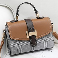 New Fashion Retro Plaid Contrast Color Handbag Shoulder Bag Messenger Bag Crossbody Bag