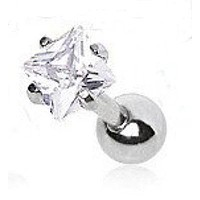 Surgical Steel Prong Set Square Clear Cz Cartilage Earring - Sc0900cr