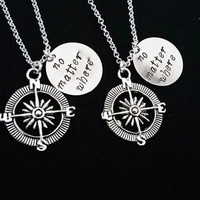 Best Friends Necklaces Set of two Compass Necklaces No Matter Where charm Friendship Gift Long Distance Relationship Nautical Christmas gift
