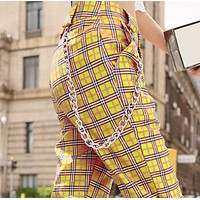Explosive straight leg all-match check pattern pants with chain