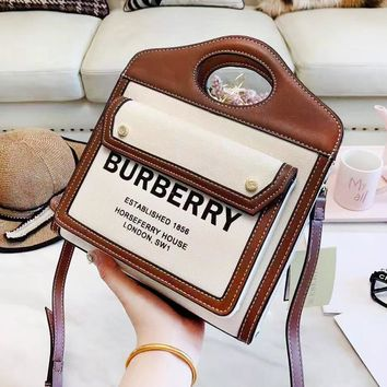 Burberry fashion hot sales of women's printed LOGO patchwork color bucket shoulder bag