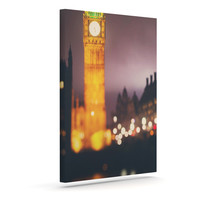"""Laura Evans """"Westminster at Night"""" Yellow Multicolor Canvas Art"""