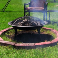 Portable Camping Fire Pit With Carrying Case Spark Screen Fire Poker Traveling