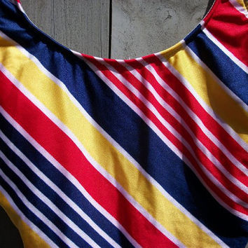 Vintage swimsuit: Red, yellow and navy Land's End one-piece tank suit
