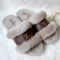 LV Louis Vuitton UGG plush stitching letter print men and women sandals slippers boots Shoes #5