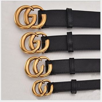 GUCCI GG Fashion new product letter gold buckle temperament belt