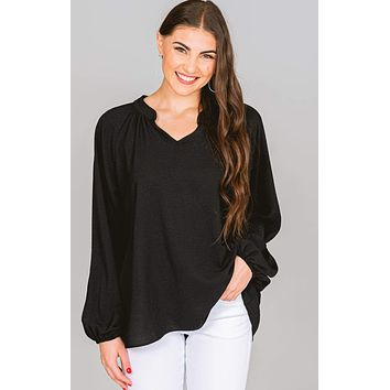 Solid Bubble Sleeve Blouse