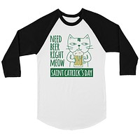 Beer Cat Patrick's Day Mens Baseball Shirt For St Patrick's Day