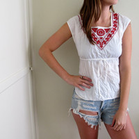 Vintage Peasant Style Shirt Mexican Embroidered White Red 70s See Through