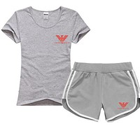 Trendsetter Emporio Armani Women Men Casual Sport T-Shirt Top Tee Shorts Set Two-Piece