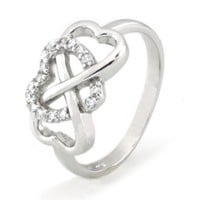 TIONEER Sterling Silver Cubic Zirconia Heart Infinity Ring - Size 6