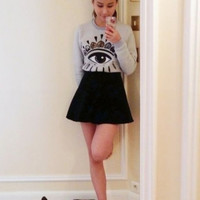 Gray Eye Printed Knitted Sweater