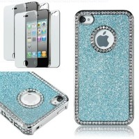 Pandamimi Deluxe blue Chrome Bling Crystal Rhinestone Hard Case Skin Cover for Apple iPhone 4 4S 4G With 2 Pcs Screen Protector:Amazon:Cell Phones & Accessories