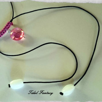 Charm necklace - beaded necklace - black necklace - pink necklace - simple choker - simple necklace - long necklace - bead charm