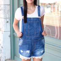 Lace Trimmed Denim Overall Romper