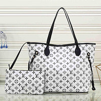 LV Louis Vuitton Trending Women Stylish Leather Satchel Bag Shoulder Bag Handbag Crossbody Set Two Piece White I-MYJSY-BB