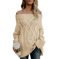 Solid Color Knit Off-The-Shoulder Sweater