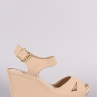 Bamboo One Band Cutout Ankle Cuff Platform Wedge