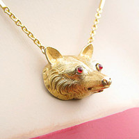 Antique Fox Necklace, Amazing Detail in 15K and 18K Gold, Ruby Eyes, Beautiful Workmanship, Lovely Chain, Victorian Era
