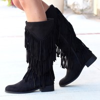 City Girl Layered Fringe Riding Boots {Black}
