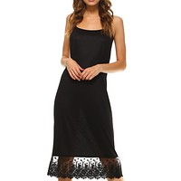 Women's Long Solid Knit Lace Full Slip Cami Dress Extender With Adjustable Straps