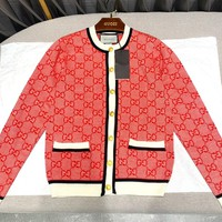 Gucci Autumn Winter Popular Women Casual Long Sleeve Knit Cardigan Jacket Coat Red
