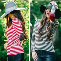 Striped Long Sleeve Elbow Patched T-Shirt