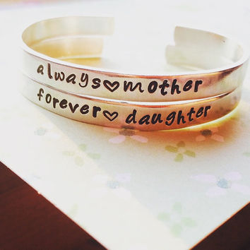 always mom/forever daughter   mother/daughter/ two aluminum bracelet 1/4 inch wide