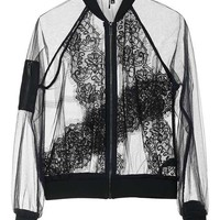 Sheer Lace Bomber Jacket