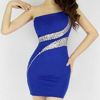 Strapless Diamonds Embellished Mini Dress