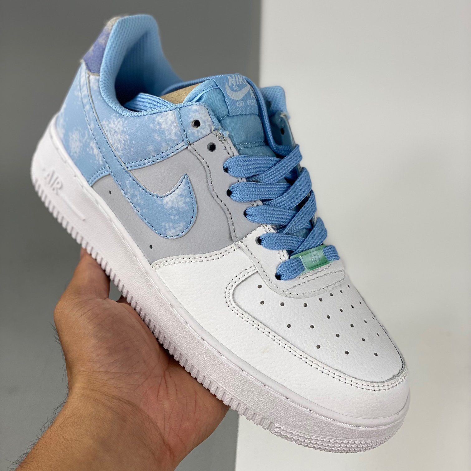 Image of Nike Air Force 1 Low White/Grey/Blue Sneakers Shoes
