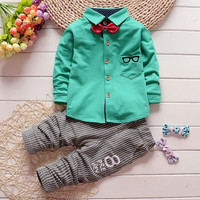 2pcs Kid Clothes Toddler Baby Boy Long Sleeve Bowtie Top Stripe Pants Set Outfits 0-4Y NW