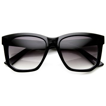 Trendy Thick Frame Fashion Edge Cut Horned Rim Sunglasses 8914