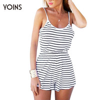 Women Summer Striped Strap Slim Jumpsuit Rompers Sexy Backless Sleeveless Beach Playsuit