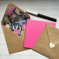 """Square Pink Chalkboard Card. 5""""  Blank DIY greeting card with paper lined Kraft envelope. Floral, flowers, Spring. Any Ocassion, Mothers day"""